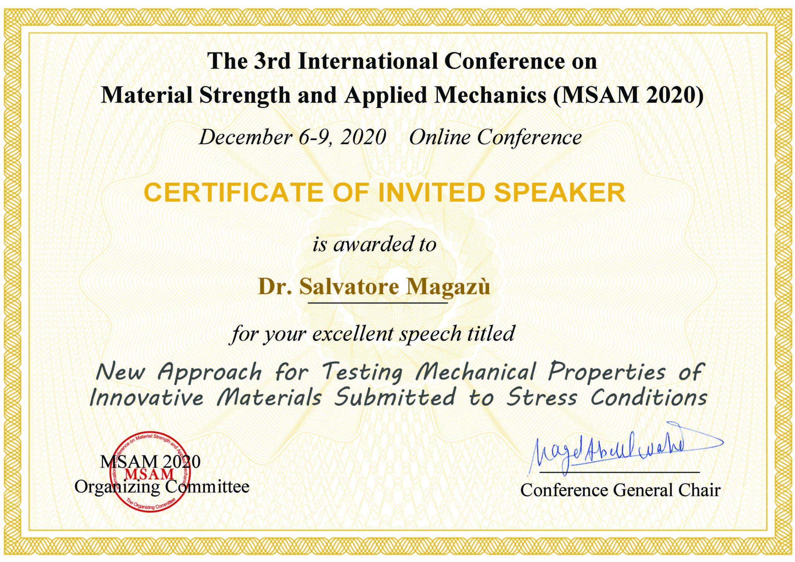 Certificate MSAM 2020