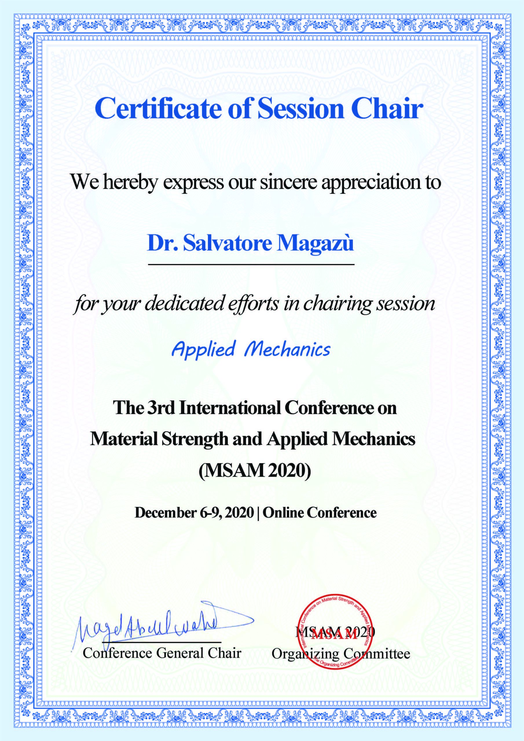 Certificate Conference on Material Strenght and Applied Mechanics